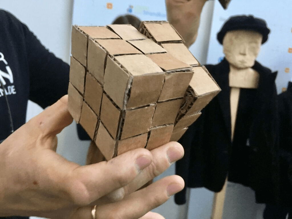 Picture of a magic cube made of cardboard