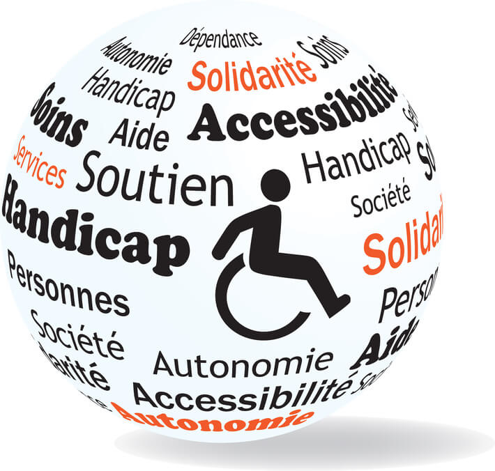 Logo with wheelchair and words eg. handicap, accessibility, solidarity